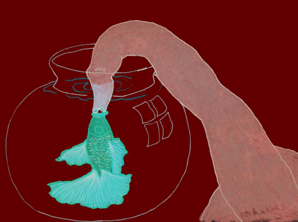 A long necked figure has its head in a fish bowl kissing a green fish.