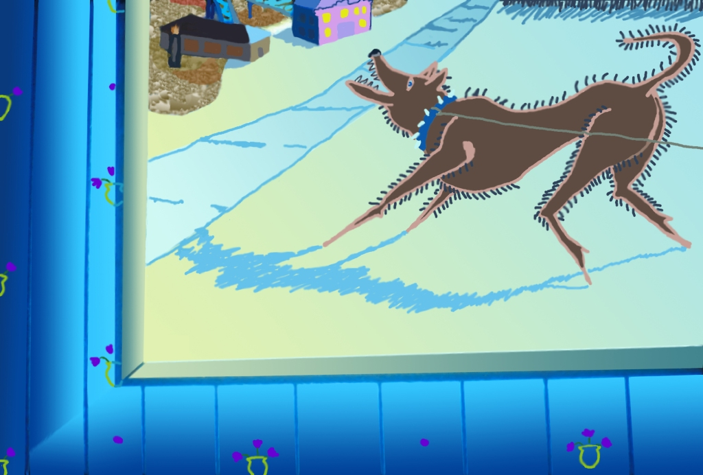 A 2d graphic of a dog wearing a spiked collar seen through a window.