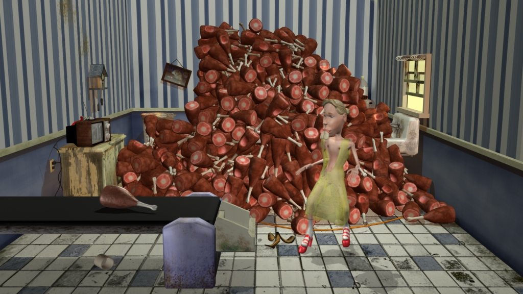 An androgynous character in red platform shoes looks a a ham on a conveyor belt in front of a large pile of hundreds of hams