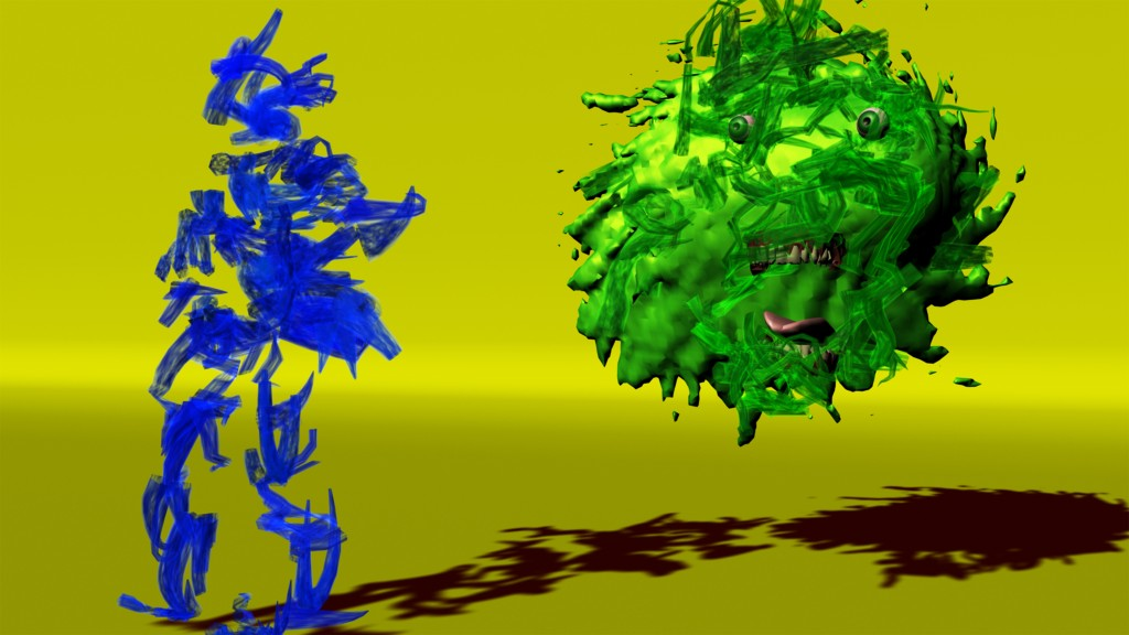 2 gestural figures, one blue, one green on a yellow ground