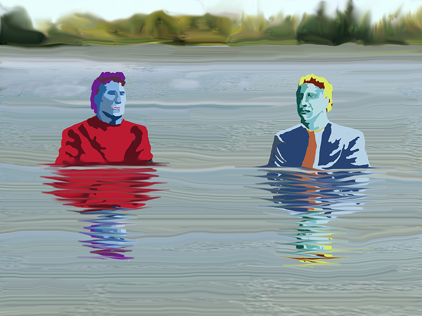 Two figures standing in water up to their chest